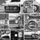 Vintage cars, vintage collage, bumper and headlights - 65114776