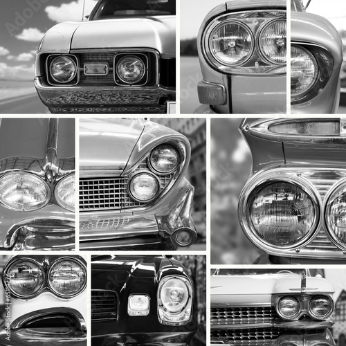 Obraz w ramie Vintage cars, vintage collage, bumper and headlights