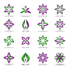 Design elements set. Abstract floral icons.
