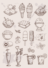 hand drawing  set of ice cream and coctails