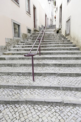 Ancient stairs on a street in Lisbon