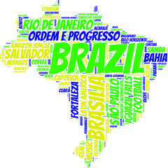 Brazil state map vector tag cloud