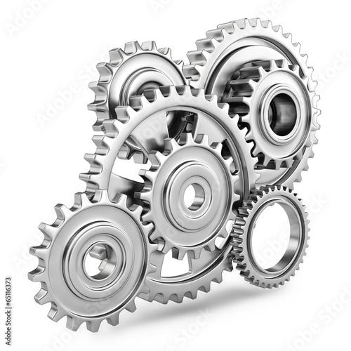 canvas print picture Cog gears mechanism concept. 3d