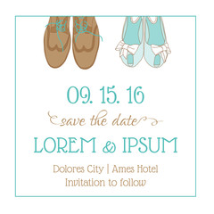 Wedding Invitation Card - with Wedding Shoes - Save the Date