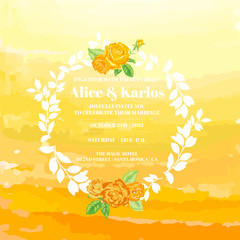 Wedding Vintage Invitation Card - Watercolor Ombre Theme