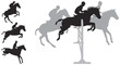 Horse jumping silhouettes