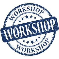 Workshop blue round grungy vintage rubber stamp