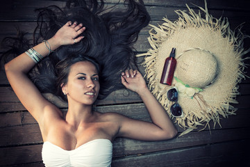 Woman portrait over wood background