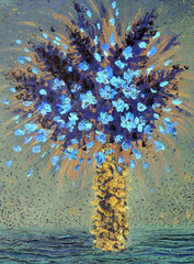 Oil painting. Blue flowers in yellow vase