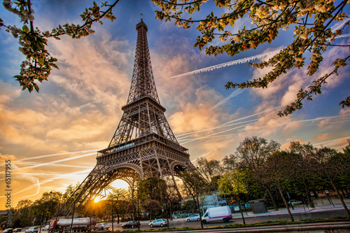 Leinwandbild Motiv Eiffel Tower against sunrise  in Paris, France