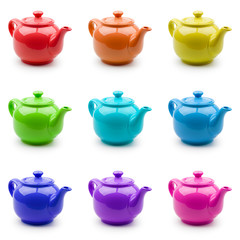 Set of nine colorful teapots for your design. Isolation on white