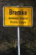 Ortsschild Bremke