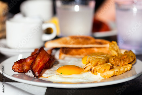 Breakfast with fried eggs - 65118761