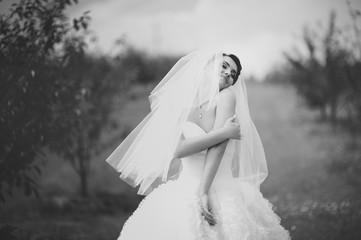 Gorgeous  young bride enjoying wedding day.