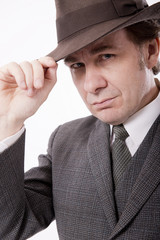 Man In Grey Suit And Fedora