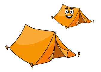 Two colorful orange tents