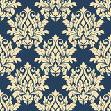Damask style seamless pattern on blue - 65120163