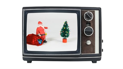 Vintage Television with Claymation Santa