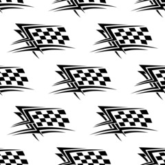 Black and white checkered flag seamless pattern