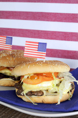 USA Fourth of July Hamburgers - Vertical.