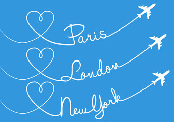 Love flying, Paris, London, New York, vector set