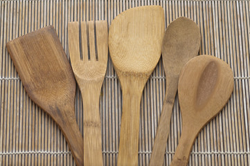 Set of wooden kitchen utensils