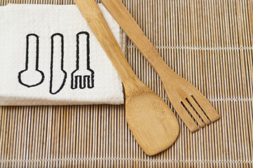 Wooden kitchen set with tea towel