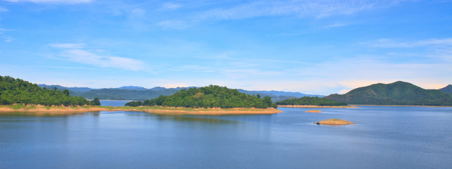 Panorama Views over the reservoir Kaengkrachan dam
