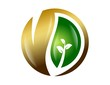 logo symbol icon gold leaf global nature health eco energy life