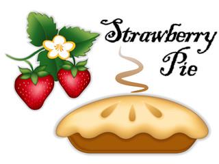 Strawberry Pie, fruit, flower, fresh baked sweet dessert treat