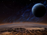 Alien planet with a close moon in orbit