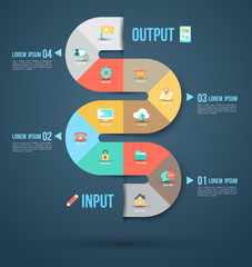 Abstract business info graphics template with icons.