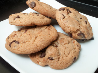 Chocolate chip cookies served in a plate