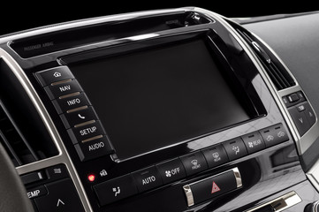 Panel of a modern car. Screen multimedia system.