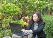 Confident Asian business woman, closeup portrait on white backgr