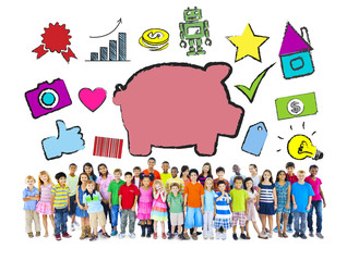 Multi-Ethnic Children with Savings Concept