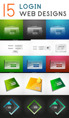 Vector mega set of login web design elements