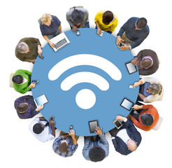 Multi-Ethnic People Social Networking with WIFI Symbol