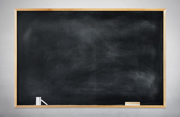Blank Black Chalkboard on a Gray Background