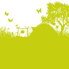 Zelt und Zeltplatz im Gras