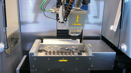 Dental CNC engraver in action