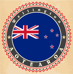 Vintage label cards of New Zealand flag.