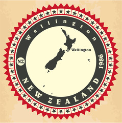 Vintage label-sticker cards of New Zealand.