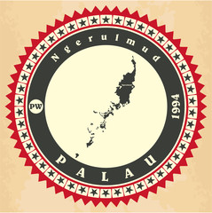 Vintage label-sticker cards of Palau.