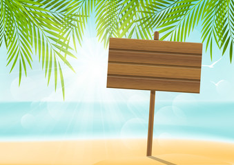 Summer beach background with signboard