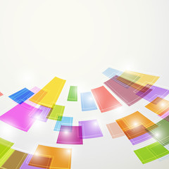 Bright colorful abstract square elements fly