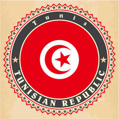 Vintage label cards of Tunisia flag.
