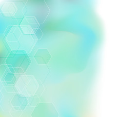 Bokeh abstract hexagon background