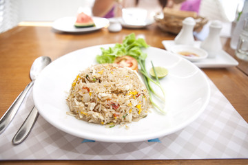 Khao phat pu, Fried rice with crabmeat