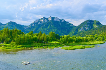 The Three Crowns Mountain over The Dunajec River in Poland.